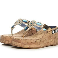 Summer Sandals Rhinestone Wedge Thick Crust Casual Shoes Slippers [6050209281]