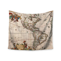 """Bruce Stanfield """"Vintage Map Of The America's """" Brown Green Wall Tapestry"""