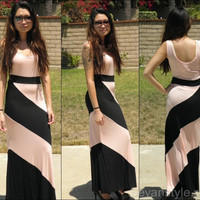 Color Block Knit Maxi Dress