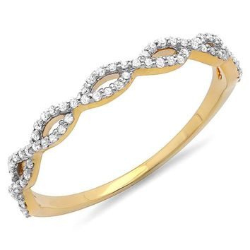 CERTIFIED 0.18 Carat 14K Yellow Gold Diamond Swirl Wedding Band Stackable Ring 1/5 CT