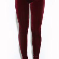 BURGUNDY VELVET LEGGINGS