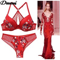 DaiNaFang Brand New Sexy Bras Set  ABCDE Cup Bra and Panty Sets Push Up Underwear Y-Line Straps Womens lingerie