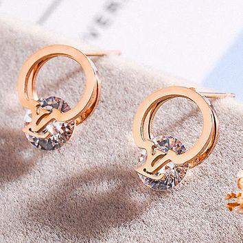 LV Louis Vuitton Hot Sale Newest Women Shiny Diamond Earrings Jewelry Accessories
