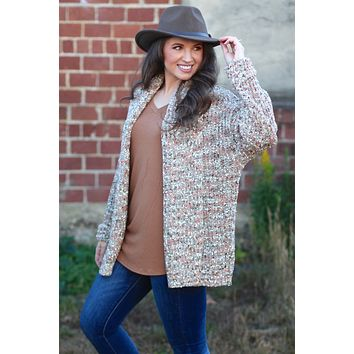{Taupe} Cold Weather Dreams Confetti Cardigan
