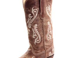 Corral Distressed Brown Cortez Embroidery Cowgirl Boots