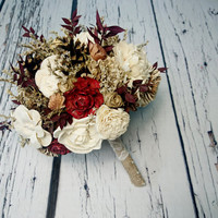 BIG cream ivory burgundy gold brown rustic autumn fall winter woodland wedding BOUQUET sola flowers limonium pine cone cedar rose Burlap