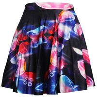Floral Print Skater Skirt in Black