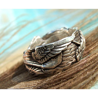 Boho Sterling Silver Wings Ring