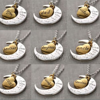 Sweet Gold/Silver Family I LOVE YOU TO THE MOON AND BACK Necklace Charm Pendant