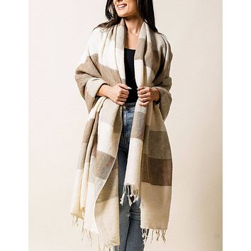 Himalayan Yak Wool Large Wrap - Natural