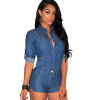 Sexy Womens Bodycon Denim Short Pants Playsuit Button Skinny Jeans Overall