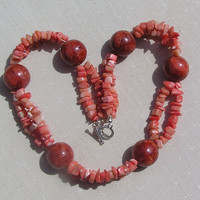 """Red Sponge Coral & Salmon Bamboo Coral Gemstone Statement Necklace - """"Tiger Lily"""""""