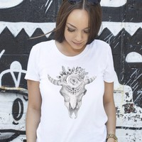 Cow Skull Shirt - Black and White Boho Shirt