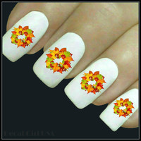 Autumn Nail Decal Fall Leaves Nail Art 20 Water Slide Decals Fingernail Decals Leaf Nail Tattoos Nail Transfers Thanksgiving Nails