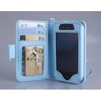 Navor Folio Wallet Case for iPhone 4 4S Pockets for Cards & Money, Clear Window Slot for License ID ( Blue )