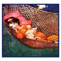 Young Girl and Doll in The Hammock By Jessie Willcox Smith Counted Cross Stitch Pattern