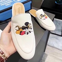 GUCCI x Disney New Fashion Women Leather Half-Slippers Sandals Shoes