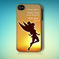 Disney Peter Pan Tinkerbell Neverland Quote Case for iPhone 4 4s 5 5s 5c
