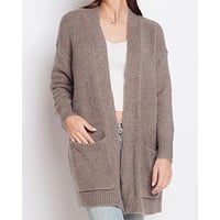 Dreamers - Lapel Detail Fuzzy Open Front Cardigan in Mocha