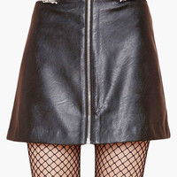 Black Zip-Up Leather Mini Skirt