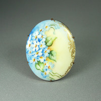 Victorian Hand Painted Porcelain Forget Me Not Flower Brooch