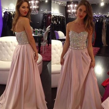 Gorgeous Sweetheart Pink Prom Dresses Fully Beads Bodice gorgeous pst0060