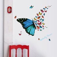 Colorful Butterfly Wall Sticker Removable Fridge Home Decor Bedroom Art Applique