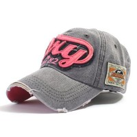 ililily Distressed Vintage Style Denim DRY Baseball Cap Pre-curved Bill and Embroidery on Front and Side with Adjustable Leather Strap Snapback Trucker Hat (ballcap-595-2)