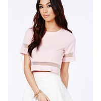 Missguided - Loida Short Sleeve Mesh Panel Crop Top In Baby Pink