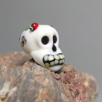 Skull Bead with Ladybug glass handmade lampwork focal floral Halloween or Day of the Dead