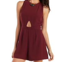 Red Love & Air Plunge Back Romper by Charlotte Russe