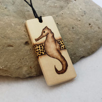Wood Seahorse Necklace Pendant Natural Jewelry Hippie Necklace