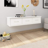 Wall-mounted Drawer Shelf Chipboard Floating Side Cabinet Multi Colors