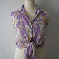 60s/70s Japanese Abstract Floral Shirt w/ Unique Sun Fade All Over, M-L // Vintage Sun Top