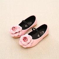 2016 Girl PU Leather Shoes Children Princess Fashion Flower Flat Shoes For Wedding Sch