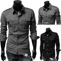 Slim Fit Pockets Dress Shirt
