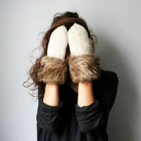 handmade white ivory wool color mittens with brown fur fringe from 100% wool cozy warm winter gloves