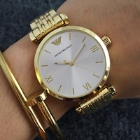 ARMANI Woman Men Fashion Print Watch Business Watches Wrist Watch Golden G-Fushida-8899
