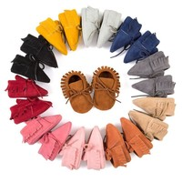 Baby Girl Tassel Lace Up Leather Moccassins