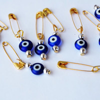 Blue Evil Eye Beads With Pin Wedding invitation Packing Supplies Beads With Pin -  Set Of 20, Ojo Beads, Blue Evil Eye Beads With Hook Nazar