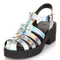 Silver Metallic Caged Chunky Heel Sandals