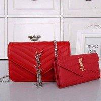 YSL Women Shopping Bag Leather Chain Satchel Shoulder Bag Crossbody Two Piece Set