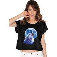 Ladies Wolf and Moon T-shirt Call of the Wild Boxy Tee