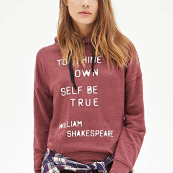FOREVER 21 Shakespeare Graphic Hoodie Burgundy/White