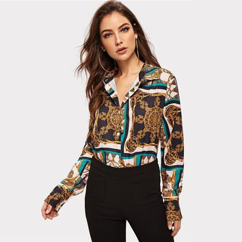 Casual Mix Print V Neck Patchwork Blouse Women Fashion Button Shirt  Elegant Lady Workwear Blouses