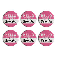 Sandy Hello My Name Is Plastic Resin Button Set of 6