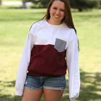 White and Maroon Color-Block Crewcut Sweatshirt with Black & White Chevron Pocket