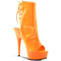 Neon Orange Ankle Boot 6 Inch Heel Stripper Boot