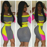 Multi Color Off Shoulder Cropped Top and Bodycon Skirt