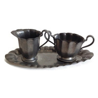 Vintage Pewter Sugar and Creamer with Underplate, 1930's, Art Deco, USA, Tea Set, Scalloped Edges, Colonial Kitchen